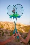 Räcka - gjorda badmintonracket Royaltyfria Foton
