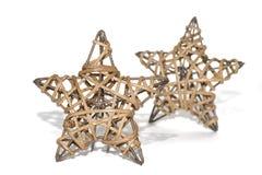 Räcka - gjorda sugrörstjärnor som julgarnering Royaltyfri Fotografi