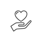 Räcka hållande hjärta, lita på linjen symbolen, översiktsvektortecknet, den linjära stilpictogramen som isoleras på vit royaltyfri illustrationer