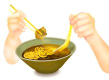 Räcka hållande pinnar för att äta Ramennudlar royaltyfri illustrationer