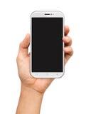 Räcka hållande vita Smartphone med den tomma skärmen på vit Royaltyfri Bild