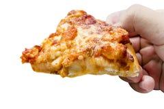 Räcka hållen och äta pizzaaskuppsättningen som isoleras på vit bakgrund Stängt upp Snabb bana royaltyfri foto