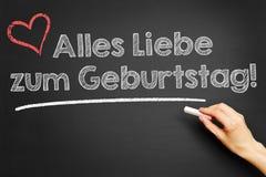 Räcka handstil i den tyska `-Alles Liebe zumen Geburtstag! Lycklig födelsedag för ` Arkivfoto