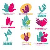 Räcka hjärtavektorsymboler för företag för välgörenhetotdonation Royaltyfri Foto