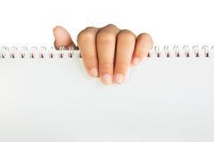 Räcka innehav pappers- isolerad whit den snabba banan Arkivbild