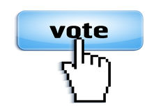 Räcka markören för musen för sammanlänkningsvaldatoren som den trängande glansiga knappen med röstar text som isoleras på vit bak Arkivfoto