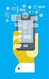 Räcka med smartphone Arkivbild