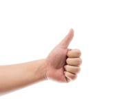 Räcka med tumen som isoleras upp på vitbakgrund hand isolerad ok teckenwhitekvinna Arkivbilder
