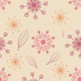 Räcka seamless attraktion mönstrar med snowflingor och leafs Stock Illustrationer
