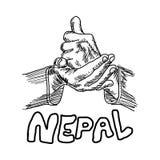 Räcka tecknet för HJÄLP med ordet NEPAL under det royaltyfri illustrationer