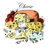 Räcka teckningen av mejeriprodukter, ost, örter och Royaltyfri Bild