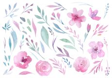 Räcka teckningen isolerade bohovattenfärgen blom- illustrationbuketter med sidor, filialer, blommor Bohemisk grönskakonst vektor illustrationer
