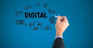 Räcka teckningsdiagram med digital text på skärmen stock illustrationer