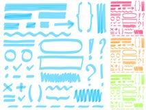 Räcka teckningshighlighterbeståndsdelar för valt och redigera text vektor illustrationer
