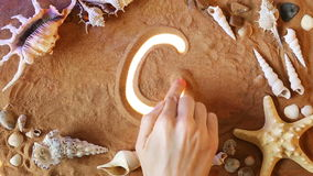 Räcka teckningsnumret sex symbol 6 i sanden pink scallop seashell Top beskådar lager videofilmer