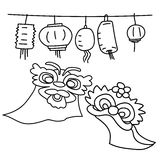 Räcka teckningstecknad filmbeståndsdelar för lyckligt kinesiskt nytt år stock illustrationer
