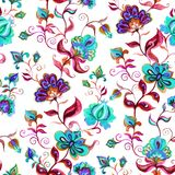 Räcka tillverkade infödda motiv på malt ljus - sömlös blom- bakgrund med invecklade blommor Vattenfärgkonst Royaltyfri Bild