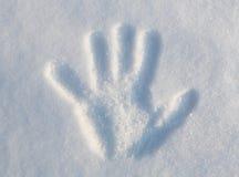 Räcka trycket i Snow royaltyfria bilder
