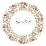 Räcka utdragen dekorativ färgrik text eller avbilda ramen med blommor Arkivfoto
