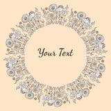 Räcka utdragen dekorativ svartvit text eller avbilda ramen med f Royaltyfri Illustrationer