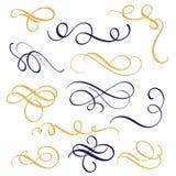 Räcka utdragen guld och svärta färgpulvervirvlar och krusidullar Beståndsdelar för design för vektorillustration Calligraphic stock illustrationer