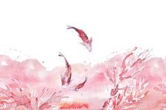 Räcka utdragen konstnärlig sömlös bakgrund med vattenfärgbakgrunden, korallfruncher som simmar fisken som isoleras på vit bakgrun Arkivfoto