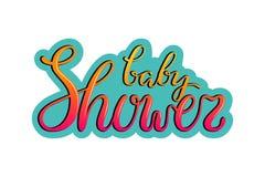Räcka utdragen märka rosa och gul text för baby shower, på ljus - blå bakgrund vektor illustrationer