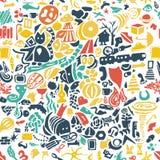 Räcka utdragen sömlös bakgrund med små gulliga beståndsdelar av liv vektor illustrationer