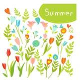Räcka utdragen tappning den blom- beståndsdeluppsättningen av blommor. Stock Illustrationer