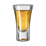 Räcka utdraget glass mycket av den guld- tequilaen, isolerad vektorillustration vektor illustrationer