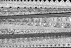 Räcka utdraget med färgpulverbakgrund med klotter, blommor, cirklar Arkivbild