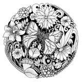 Räcka utdraget med färgpulverbakgrund med klotter, blommor, fjärilen, sidor Naturdesignen för kopplar av och meditationen Arkivfoto