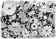 Räcka utdraget med färgpulverbakgrund med klotter, blommor, sidor Royaltyfria Foton