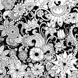 Räcka utdraget med färgpulverbakgrund med klotter, blommor, sidor Royaltyfri Fotografi