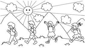 Räcka utdraget om gulliga ungar som går till skolan, tillbaka till skolan för designbeståndsdelen och sidan för färgläggningbok f stock illustrationer