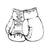 Räcka utdragna boxninghandskar som isoleras på vit bakgrund Design el Arkivfoton