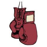 Räcka utdragna boxninghandskar som isoleras på vit bakgrund Design el Fotografering för Bildbyråer