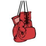 Räcka utdragna boxninghandskar som isoleras på vit bakgrund Design el Royaltyfri Fotografi