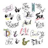 Räcka utdragna et-tecken och slagordar för din design dekorativa element Retro typografi med virvlar Handbokstäver stock illustrationer