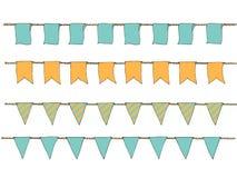 Räcka utdragna färgrika klotterbuntingbaner för garnering Klotterbaneruppsättningen, bunting flaggor, gräns skissar dekorativa el Arkivbild