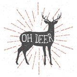 Räcka utdragna hjortar med tappningsunburst och bokstäveroj hjortar vektor Royaltyfri Foto