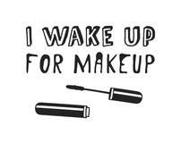 Räcka utdragna illustrationskönhetsprodukter och dana citationstecknet som jag vaknar upp för makeup Idérikt färgpulverkonstarbet stock illustrationer