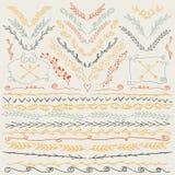 Räcka utdragna linjer gräns, filial, pilar och annan designbeståndsdelar Retro färger Royaltyfri Bild