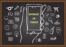 Räcka utdragna symboler av internet av saker, den mobila marknadsföringen eller det digitala marknadsföringsbegreppet på den svar royaltyfri illustrationer