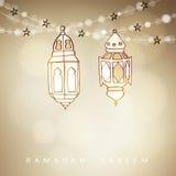 Räcka utdragna upplysta arabiska lampor, lyktor med bokehljus och stjärnor Vektorillustration för heligt månadRAM för muslimsk ge royaltyfri illustrationer
