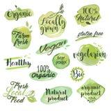 Räcka utdragna vattenfärgklistermärkear och emblem för organisk mat Fotografering för Bildbyråer