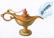 Räcka vattenfärgillustrationen av den magiska Aladdins ande i arabiska sagorlampan Arkivbild
