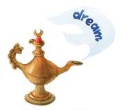 Räcka vattenfärgillustrationen av den magiska Aladdins ande i arabiska sagorlampan Arkivfoton
