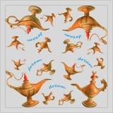 Räcka vattenfärgillustrationen av den magiska Aladdins ande i arabiska sagorlampan från de arabiska nätterna Grå bakgrund, design Arkivfoto