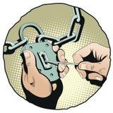 Räcker det öppna låset med en huvudnyckel för illustrationorange för bakgrund ljust materiel Royaltyfri Bild